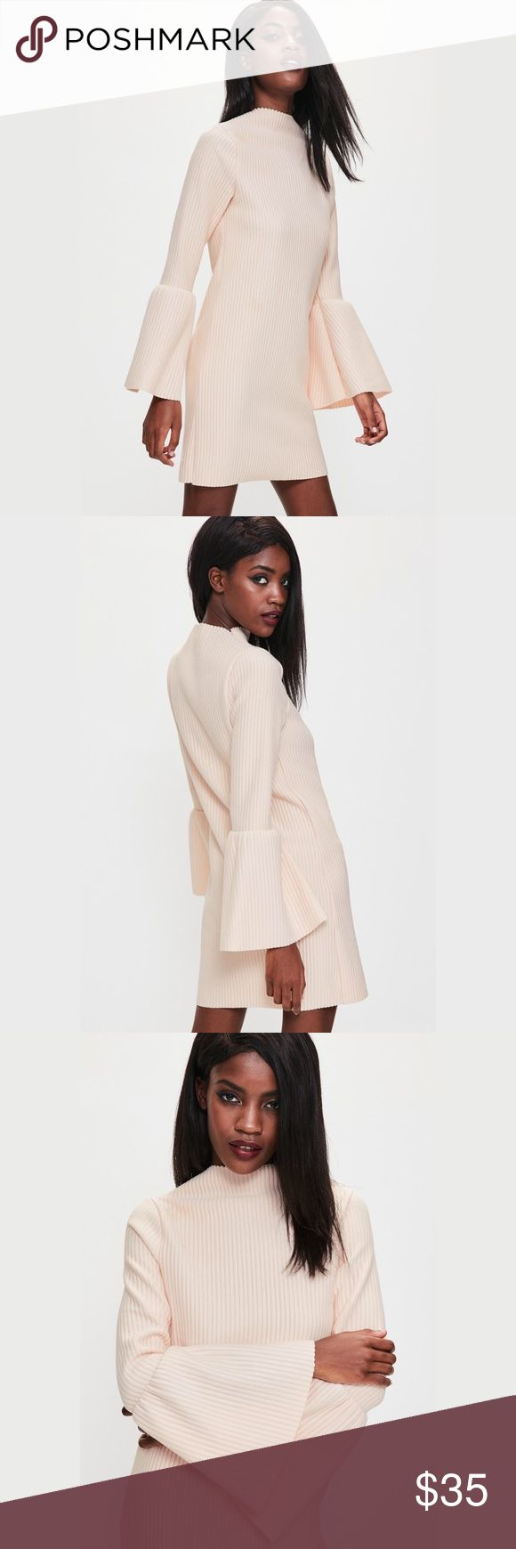 NWT - MissGuided Flare Sleeve Dress New with Tags - opt for a nude shift dress to elevate your day game, we're lusting over this ribbed dress - featuring long flared sleeves, a high neck and mini ... Missguided Dresses Long Sleeve