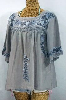 """The Siren """"La Marina"""" Embroidered Mexican Style Peasant Blouse in Shades of Grey, $52.95"""