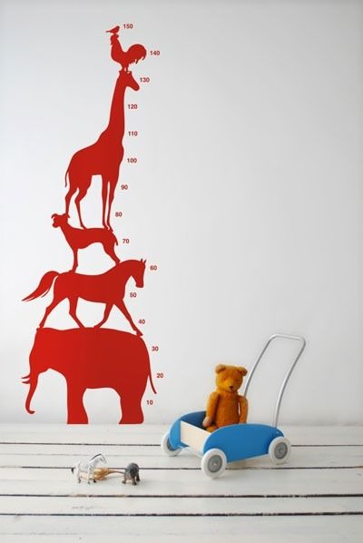 Ferm Living Shop — Animal Tower Wall Sticker - Red