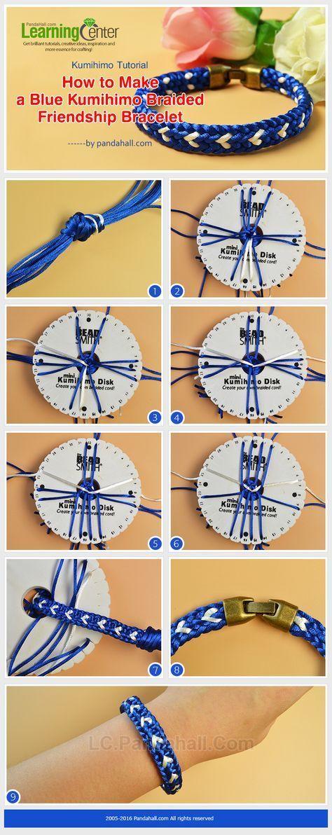 Kumihimo Tutorial - How to Make a Blue Kumihimo Braided Friendship Bracelet from LC.Pandahall.com: