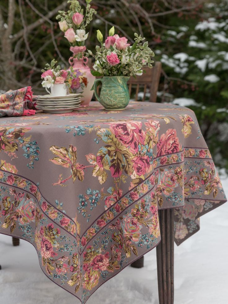 Color way inspiration for dirndl. Use tablecloth to make apron. It truly takes a team of artisans to create a gorgeous print like this- breathtaking, beautiful and completely unique. Roses inspired by French textiles and timeless Victorian aesthetic find fertile ground in our Victorian Rose pattern. Muted pinks and mellow greens are enriched by festive blue and yellow notes to form the foundation of this enticing item.