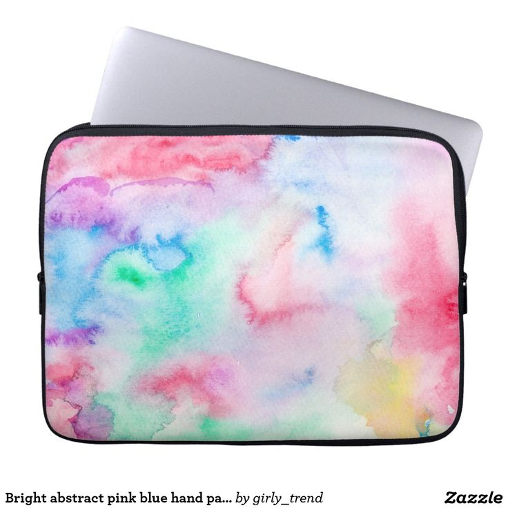 Bright abstract pink blue hand painted watercolor laptop sleeve