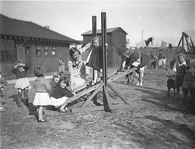 On the see-saw at kindergarten, Alexandria, Sydney, 1934 / Sam Hood | Flickr - Photo Sharing!
