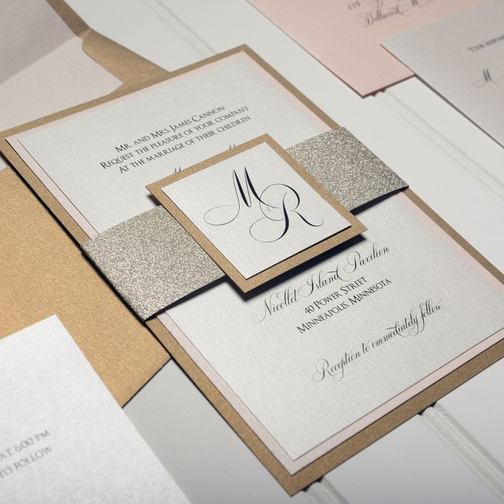 Gold Glitter Band Wedding Invitation Suite Marriage