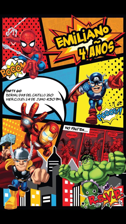 Invitación súper héroes cumpleaños spiderman ironman hulk thor super hero squad Birthday invitation