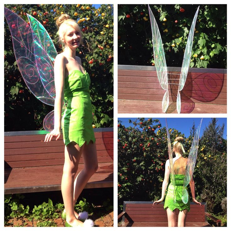 My DIY Tinkerbell fairy wings turned out great! They have a titanium frame with a layer of iridescent and clear cellophane over the top making them super light but also sturdy :)
