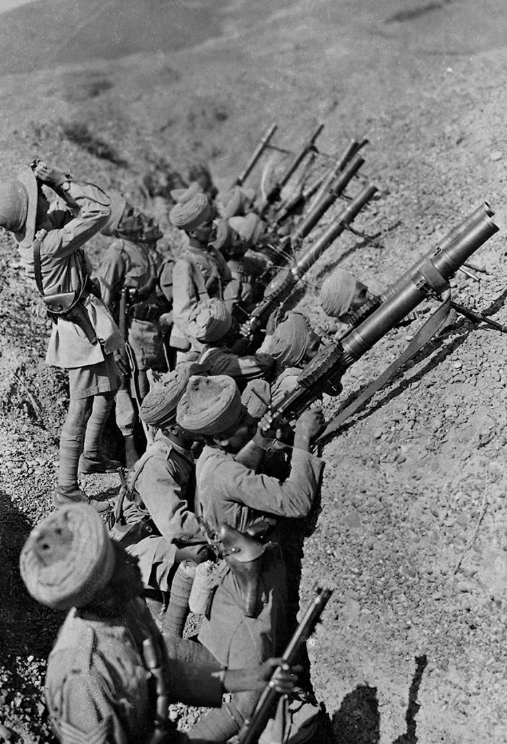 Egypt, 1917. British-officered Indian troops armed with Lewis machine guns practice their anti-aircraft drill in the Sinai Peninsula.