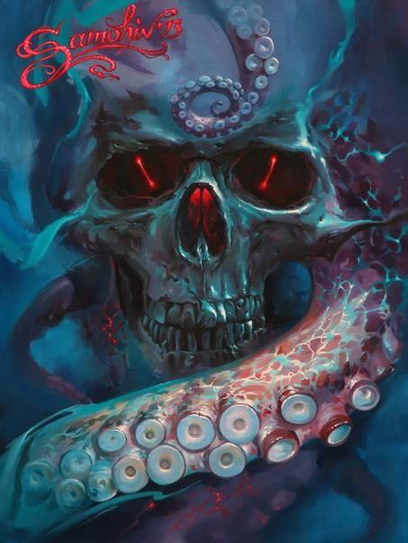 Skull painting by Dmitriy Samohin