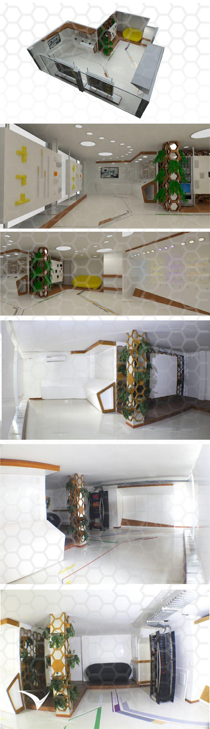 CALI SHOWROOM. Este espacio permite exponer diferentes trabajos e ir transformándose. La combinación de madera y acabados en pintura de poliuretano crea un diseño moderno, atractivo visualmente y a su vez practico, las formas hexagonales que dividen el espacio permite que el aire pase y le de un ambiente natural. Diseño por: Estudio de Diseño Vircorp  https://instagram.com/vircorpdesign/