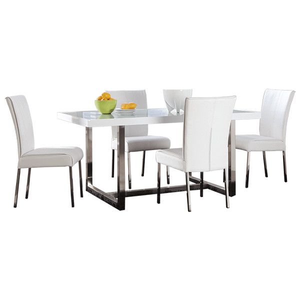 White Table - Ashley Furnature ❤ liked on Polyvore featuring home, furniture, tables, accent tables, dining room, dresser, shelves, white accent table, white shelving and white shelves