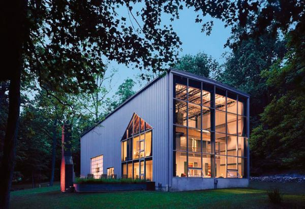 Adam Kalkin's firm Architecture + Hygiene makes prefab houses out of recycled shipping containers. Moderately cheap, mobile, and fully recyclable, the Bunny Lane house is located on 3 acres of property in Kalkin's native New Jersey. With a modern, industrial outer shell, a traditional two-story New Jersey home is contained herein, juxtaposing modern living with the traditional, and adding a dose of quirk and charm