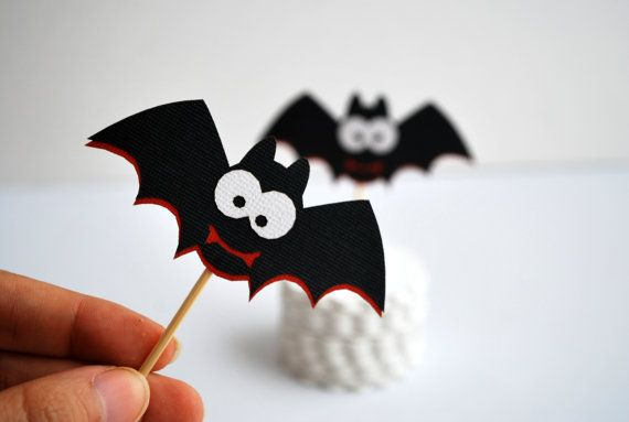 12 Spooky Bat toppers, Vampire Party Picks - Cupcake Toppers - Toothpicks - Food Picks A368