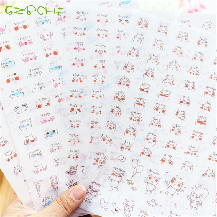 4sheets/set Creative PVC frog emoji stickers Cute daily expression fashion personality small transparent stickers laptop sticker