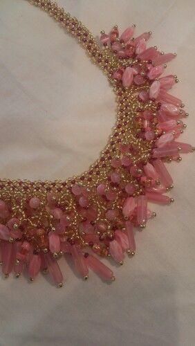 Pink Waterfall Necklace, made by Yolanta Olesinski