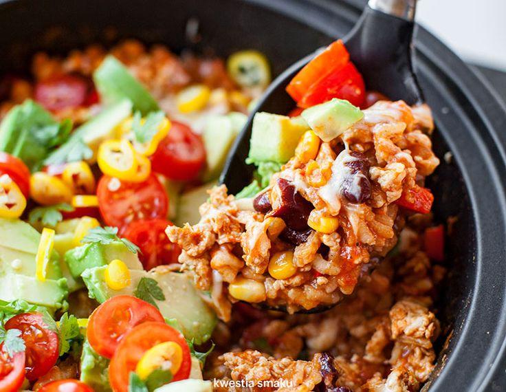 Chili z indykiem, warzywami i ryżem