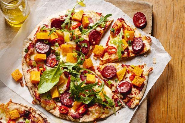 Roast pumpkin and chorizo pizzas Recipe - Taste.com.au Mobile