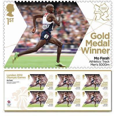Gold Medal Winner stamp - Mo Farah, Athletics, Men's 5,000m