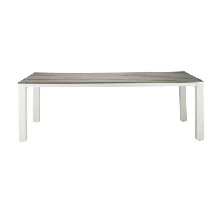 Gartentisch aus Plastik in Holzoptik und Aluminium, B 230�cm, taupe Escale