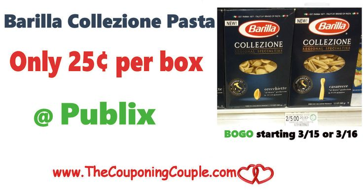*HOT* Barilla Collezione Pasta Only $0.25 @ Publix starting 3/15 or 3/16. Get ready to stock up on pasta next week at this great price folks!  Click the link below to get all of the details ► http://www.thecouponingcouple.com/barilla-collezione-pasta-only-0-25-publix/ #Coupons #Couponing #CouponCommunity  Visit us at http://www.thecouponingcouple.com for more great posts!
