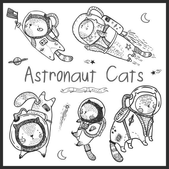 Hand Drawn Cute Astronaut Cat Clipart, Space Clip Art, Kitten Clipart, Illustrated Digital Clipart for Instant Download, Cute Kawaii Science