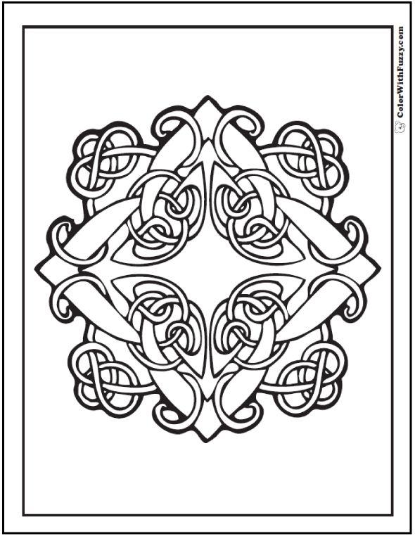 90 Celtic Coloring Pages Irish Scottish Gaelic Celtic Knots Diamond