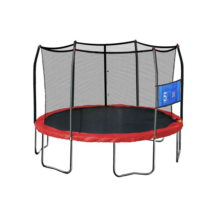Skywalker Trampolines 15' Round Jump-N-Toss Trampoline with Enclosure - Red