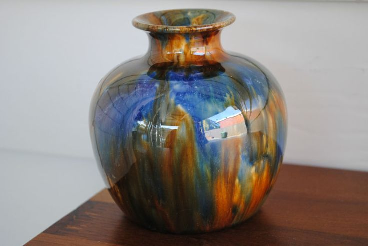 11cm x 10cm REGAL ART WARE MASHMAN BROS BULBOUS VASE - BLUE GREEN YELLOW BROWN DRIP GLAZE