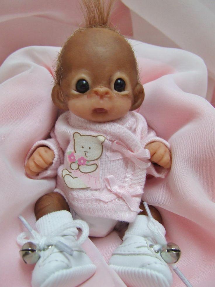 Ooak Baby Orangutan Monkey Girl Sculpted Polymer Clay Art