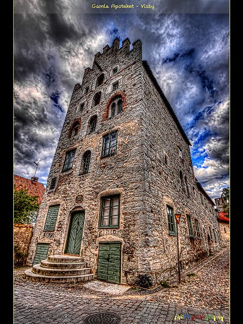 The old pharmacy is a medieval stone house inside the city wall of  Visby, Gotland, Sweden