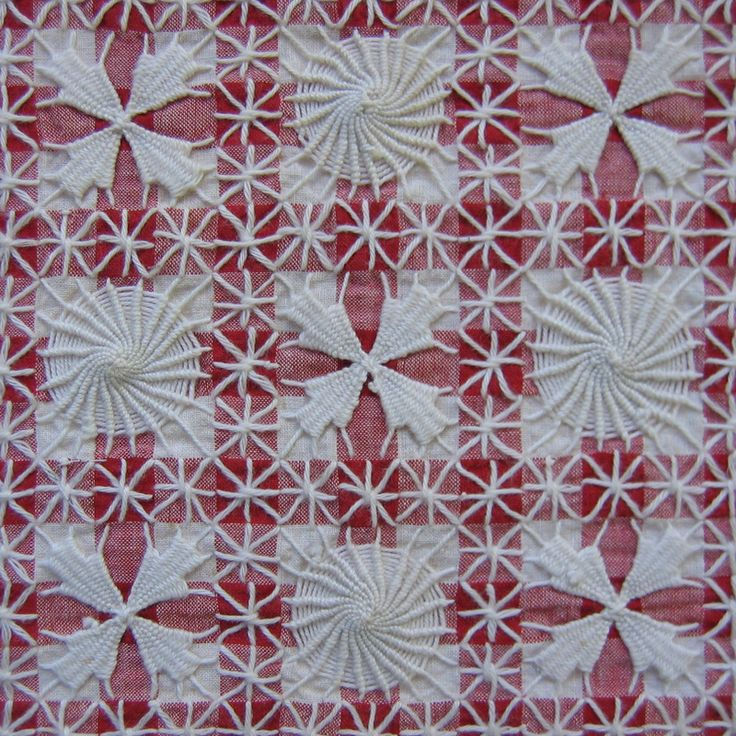 "tenerife! I learned to do ""tenerife"" as a teenager from a country neighbor. I knew only that one pattern for many years that I did on gingham checked fabric. In recent years, I have seen more and more patterns including this lovely one. Though it looks complicated, it is actually quite simple and needs only simple supplies."