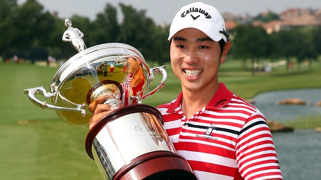 If Sang-Moon Bae looks at the top of his traditional wood and silver trophy for winning the HP Byron Nelson Championship, he'll see a miniature replica of Lord Byron himself.