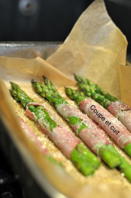 Asperges rôties coppa et parmesan