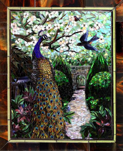 "Glass mosaic by Carl and Sandra Bryant Showcase Mosaics ""Spring Garden"""