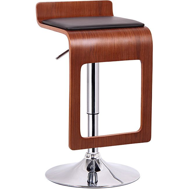 This chair is made from durable molded plywood, faux walnut veneer and black faux leather.  Polyurethane foam cushioning keeps the chair comfy while other features include a steel chrome-based finish, 360-degree swivel and a protective plastic floor ring.
