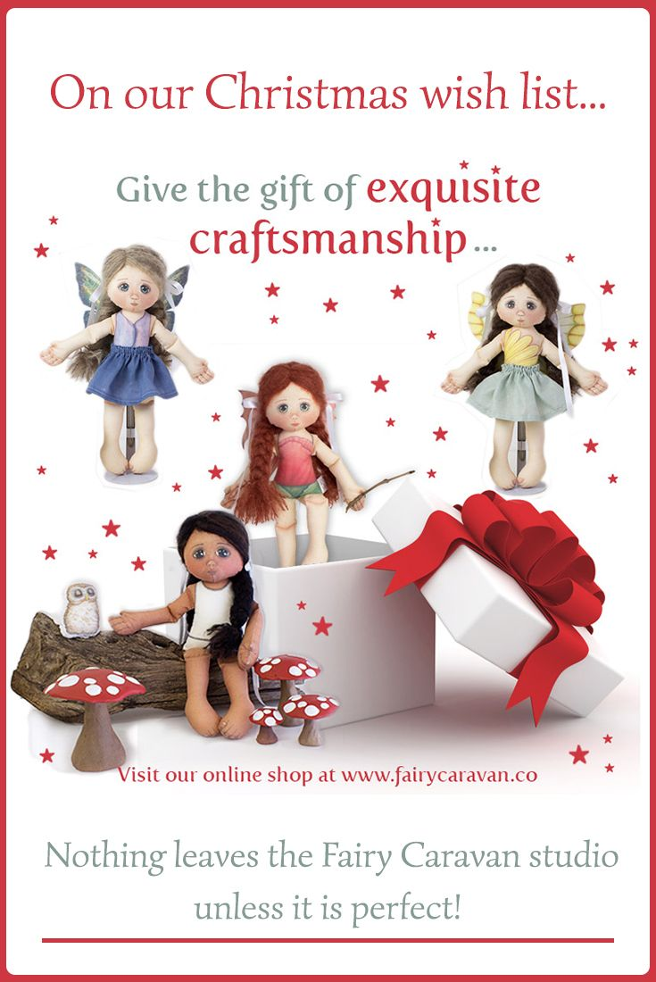 I'm a little like Poppy myself – I am never happy with a drawing or a doll until it is perfect… Which means that when you buy one of the handcrafted products from our magical shop, you receive the gift of exquisite craftsmanship! #fairydoll #fabricdoll #handmadedoll #heirloomdolls