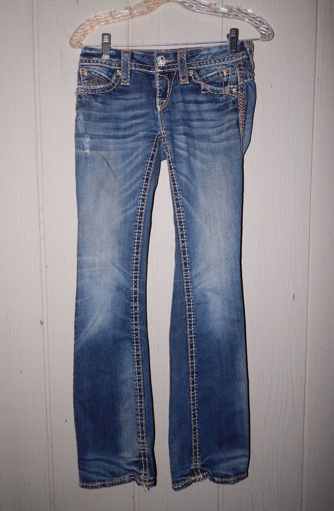 Miss Me jeans by Buckle embellished straight low rise sz 26/32 MK 08  #MissMe #StraightLeg