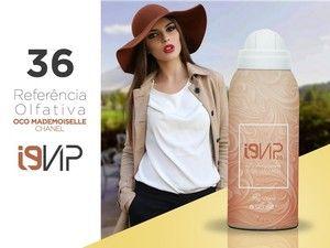Lançamento → O novo i9 Vip 36 é inspirado no Coco Mademoiselle da Chanel. Um perfume sofisticado com fragrância chipre floral, que representa mulheres independentes e elegantes.  *Obs: Referências olfativas isentas de qualquer vínculo com os detentores das marcas mencionadas.