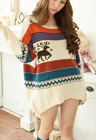 British Retro Style Mixing Color Deer Loose Fitting Knit Sweater [grls76000068]