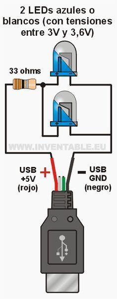 Conectar LEDs al USB   Inventable