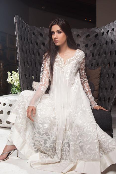 White Anarkali Churidaar