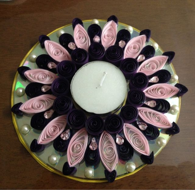 ...kraftaria..: Quilled tea light candle