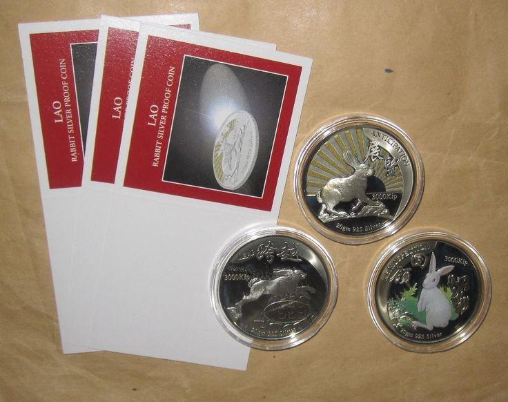 1999 Лаос 3000 кип год кролика доказательство цвет серебряные монеты набор с сертификатом подлинности | eBay