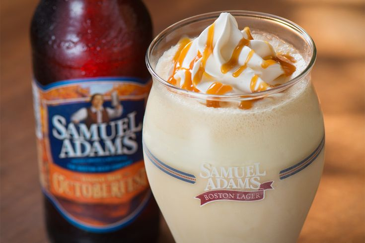 Samuel Adams Octoberfest Milkshake .. Yummmmmm Available through November 11 at Red Robin, this unique drink is a blend of soft serve ice cream, Samuel Adams Octoberfest draft, vanilla, and caramel, and pairs well with the chain's warm pretzel bites and Pub Crawl Tavern Burger, which boasts beer cheese spread, beer mustard-onions, and bacon.