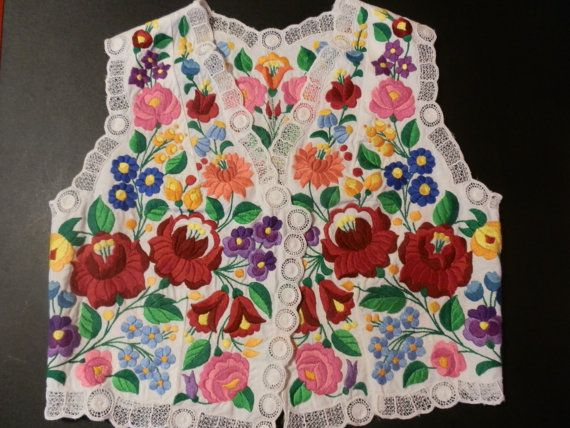 Vintage waistcoat embroidery hungarian kalocsa tablecloth