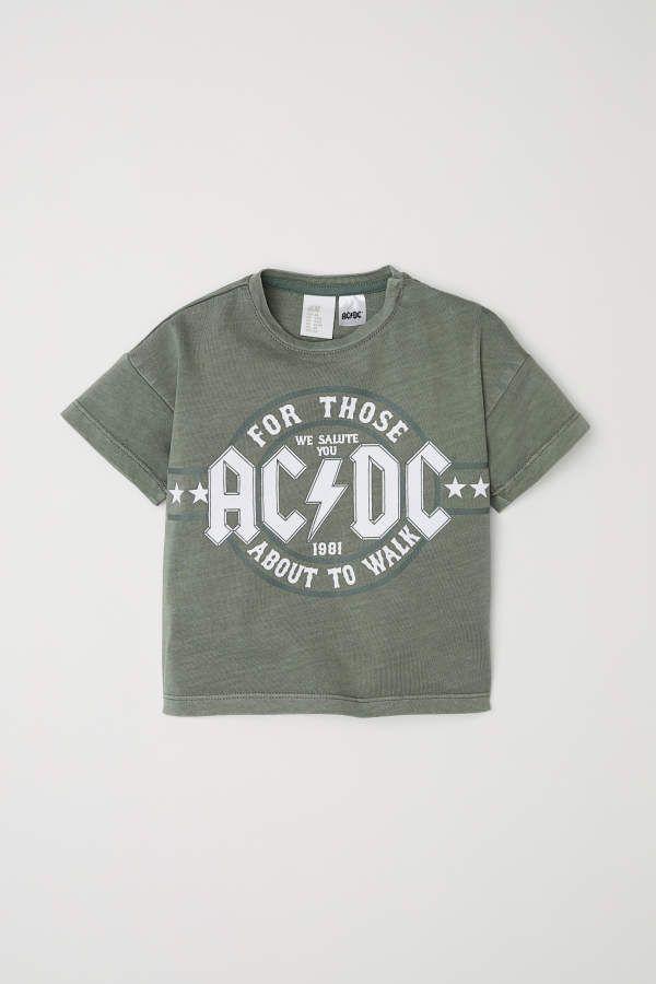 e24b36cb T-shirt | Khaki green/AC/DC | KIDS | H&M US | Baby/Toddler Boy ...