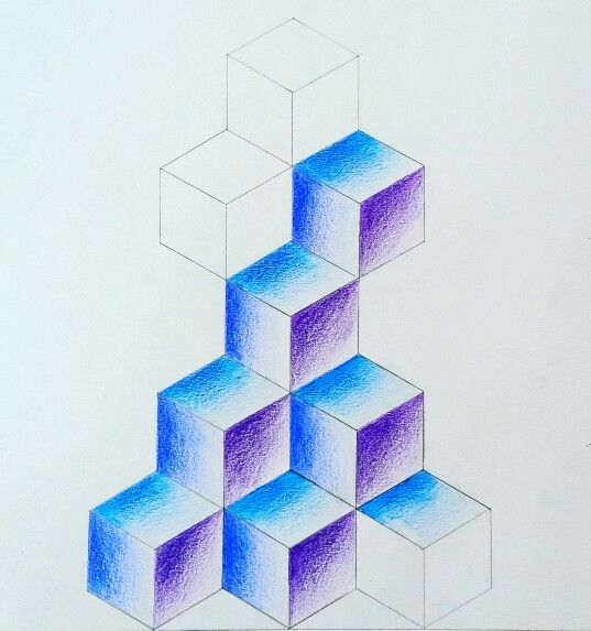 Isometric projection; coloured pencil; 2016