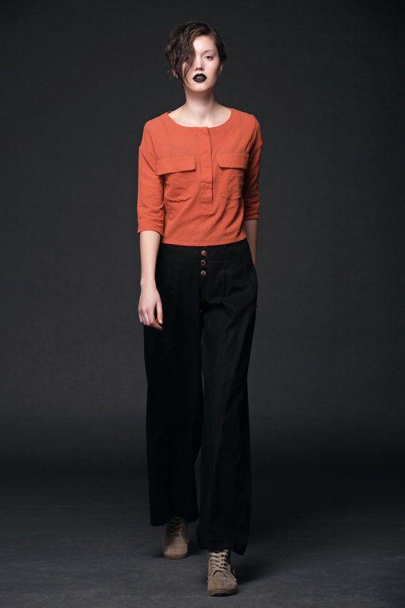 Black Linen Pants  Wide-Legged Stylish Palazzo Pants with