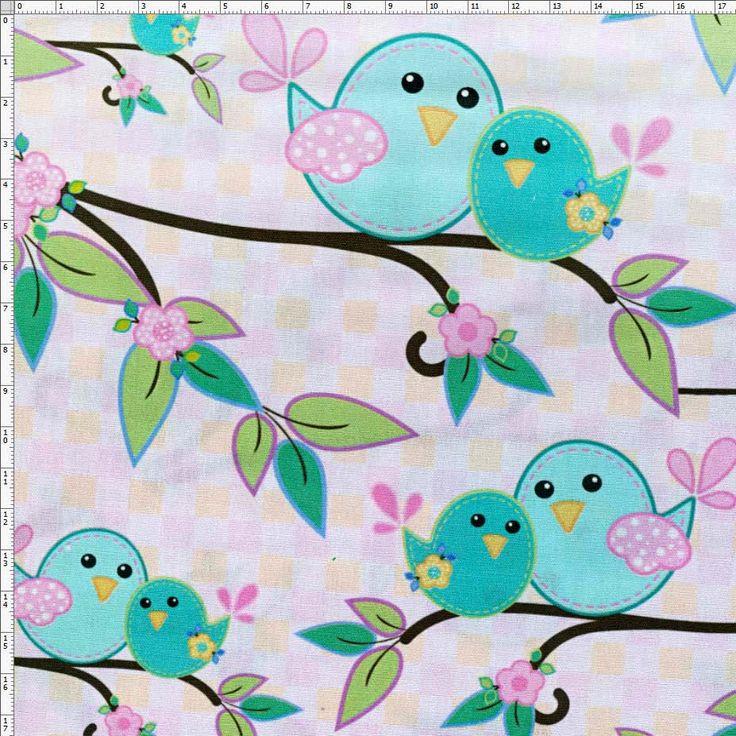 Tecido Estampado para Patchwork - Mommy Bird Digital D043 (0,50x1,40)                                                                                                                                                                                 Mais
