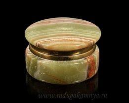 Шкатулка из оникса круглая ларец малый (6*6*4см) 250гр.