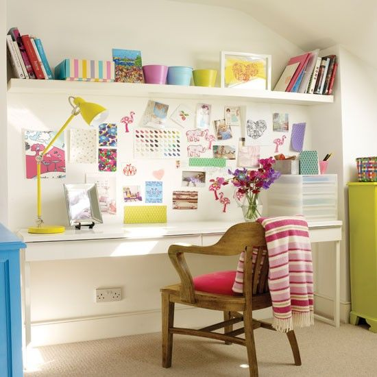 Colourful home office - love the inspiration wall and shelving above desk.  Photograph by Rachael Smith for Style at Home.